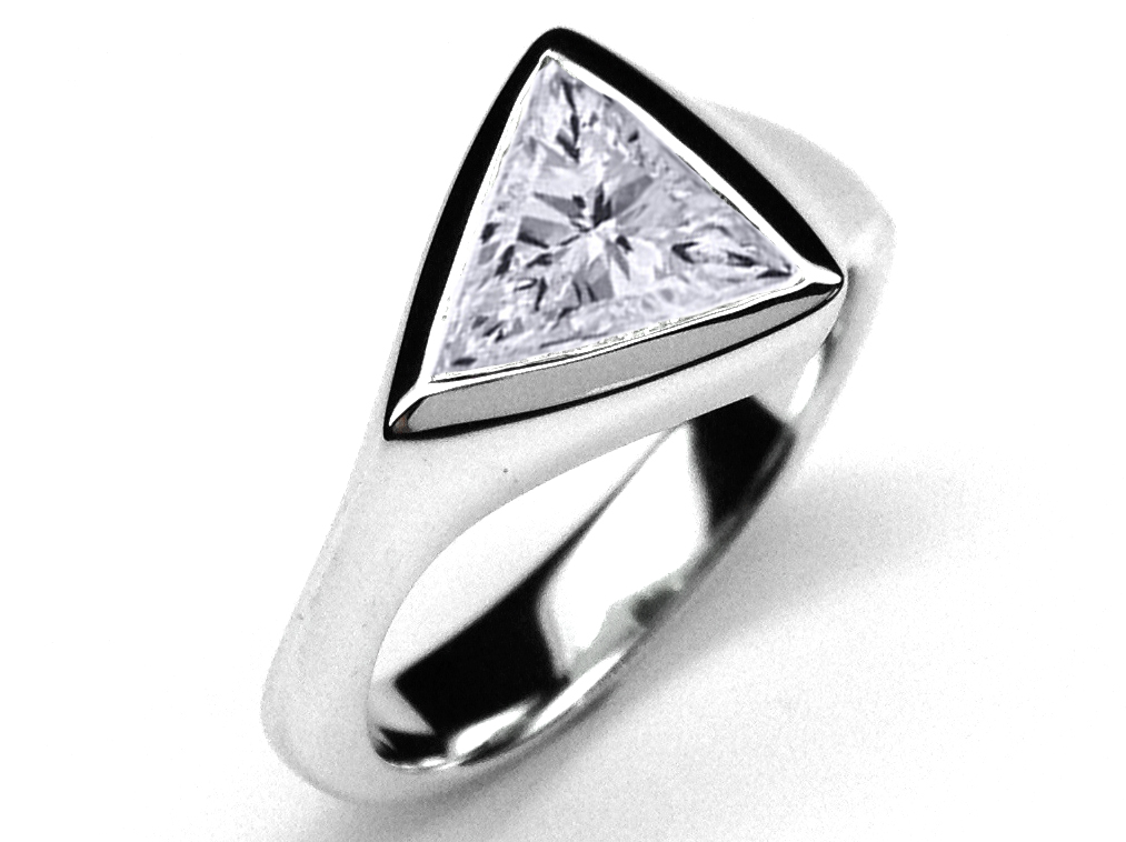 Trillion Diamond Swirl Solitaire Engagement Ring