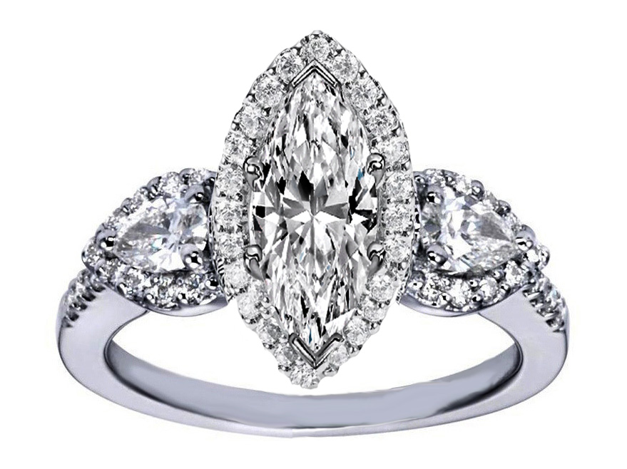 Marquise Diamond Halo Engagement Ring Pear Shape Side Stones in 14K White Gold