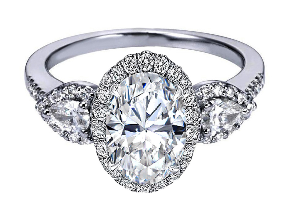 Oval Diamond Halo Engagement Ring Pear Shape Side Stones in 14K White Gold