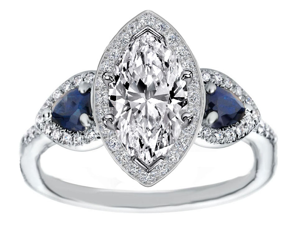 Engagement Ring Marquise Diamond Halo Engagement Ring Pear Shape Blue Sapphi