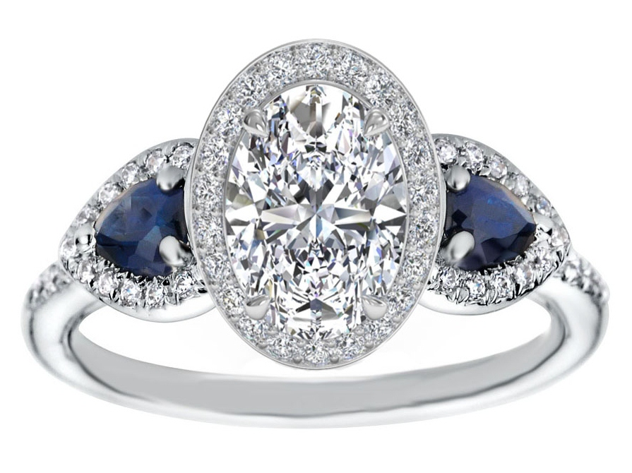 Oval Diamond Halo Engagement Ring Pear Shape Blue Sapphire Side Stones in  14K White Gold ...