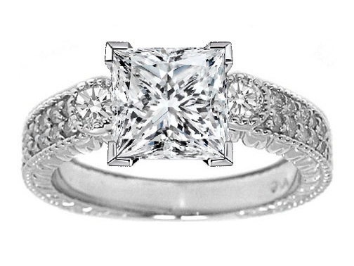 Three Stone Princess Diamond Vintage Style Engagement Ring with Round Side stones in 14K White Gold 0.55 tcw.