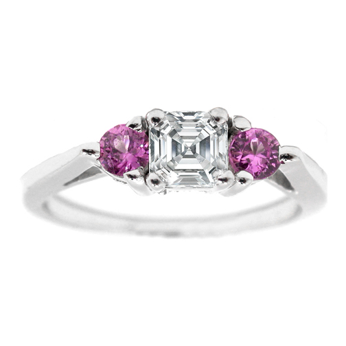 Asscher Diamond Engagement Ring Pink Sapphire Accents 0.5 tcw. In 14K White Gold