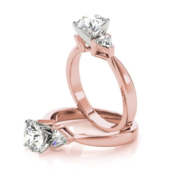 Three Stone Classic Trillion Engagement Ring - 4x4mm in Rose Gold