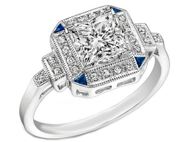 Art Deco Princess Diamond Step Up Engagement Ring Blue Accents in 14K White Gold