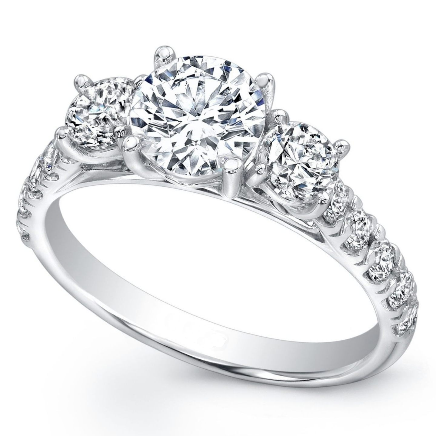 Engagement Ring Three Stone Diamond Cathedral Engagement Ring Pave