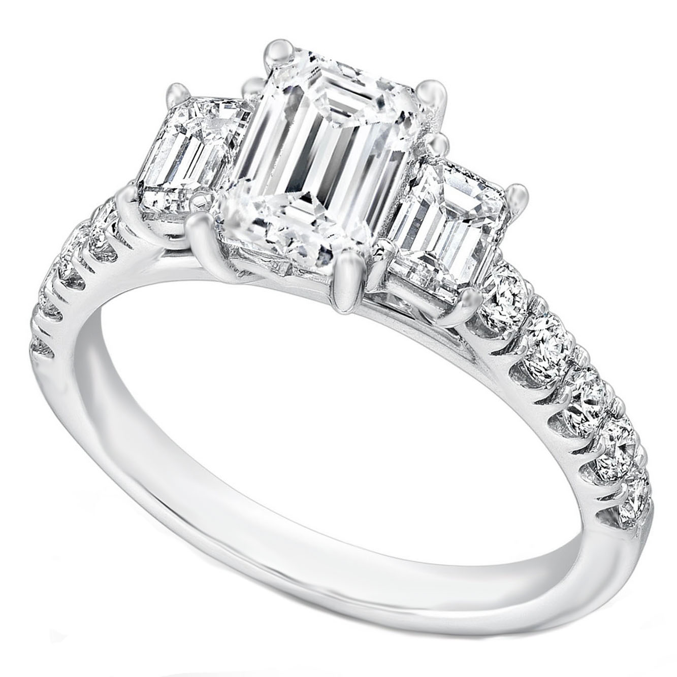 Three Stone Emerald Cut Diamond Cathedral Engagement Ring Pave Band in 14K White Gold