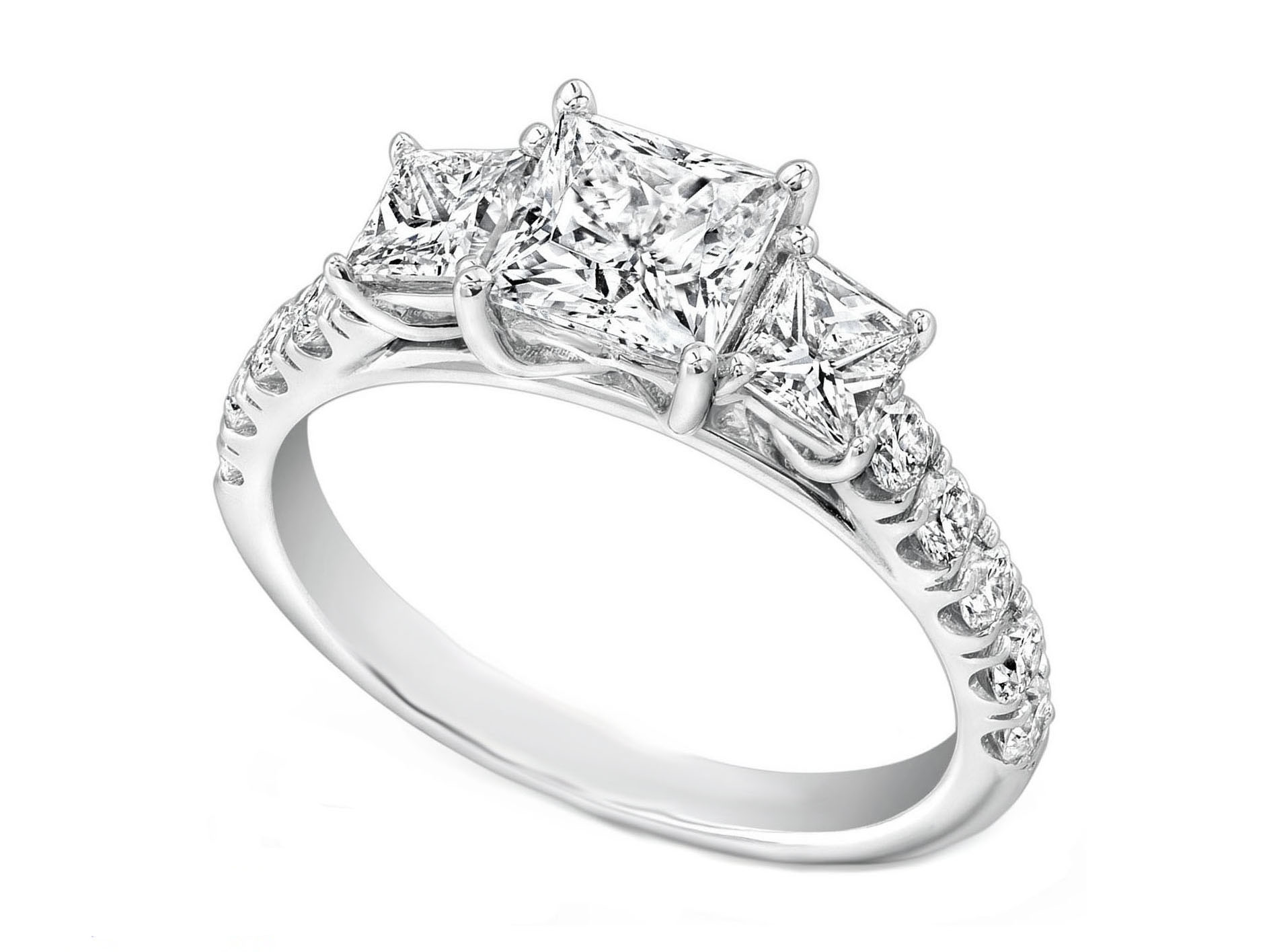 Three Stone Princess Diamond Cathedral Engagement Ring Pave Band in 14K White Gold