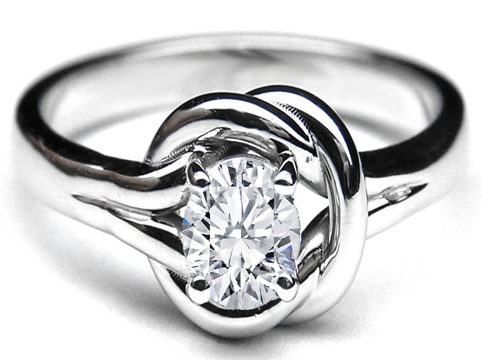 Oval Diamond Love Knot Solitaire Engagement Ring
