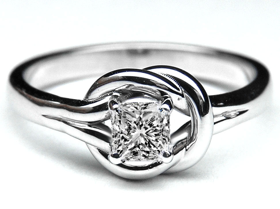 Engagement Ring Princess Diamond Love Knot Solitaire Engagement Ring in 14K