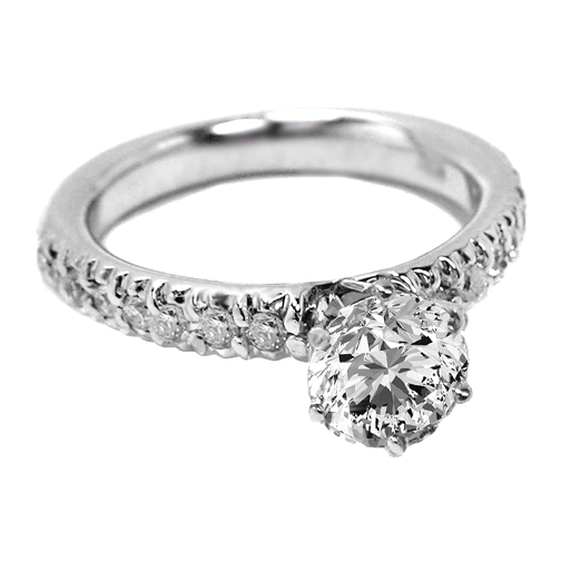 Round Diamond Engagement Ring pave diamond band 0.28 tcw. In 14K White Gold