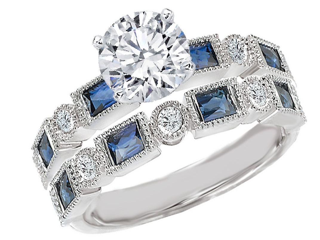 Engagement Ring Diamond Engagement Ring Blue Sapphire Accents & Matching