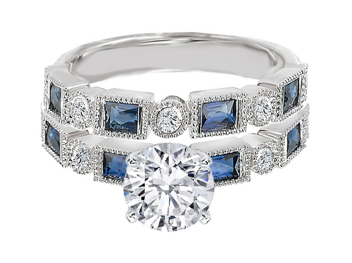 Diamond Engagement Ring Blue Sapphire Accents & Matching Wedding Ring in 14K White Gold