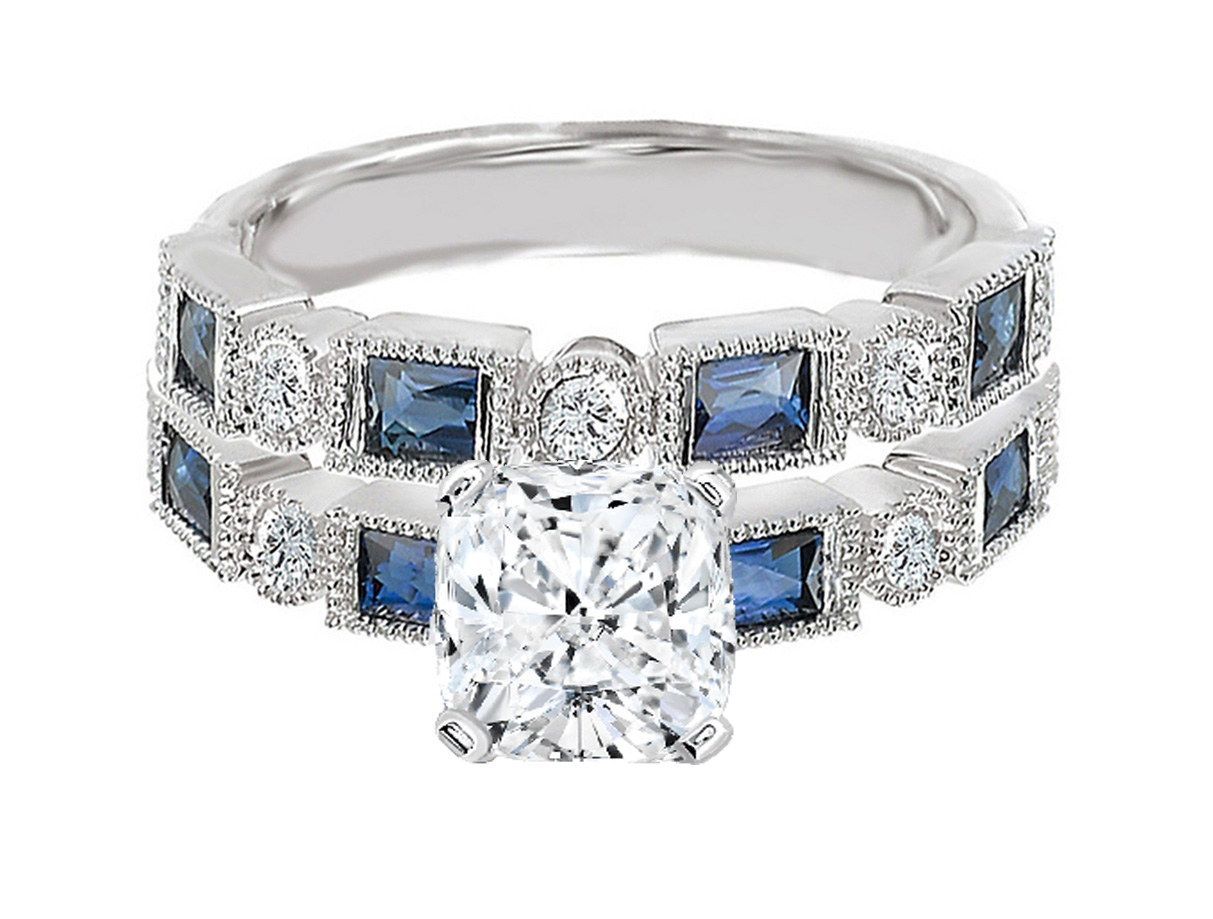 Cushion Cut Diamond Engagement Ring Blue Sapphire Accents & Matching Wedding Ring in 14K White Gold
