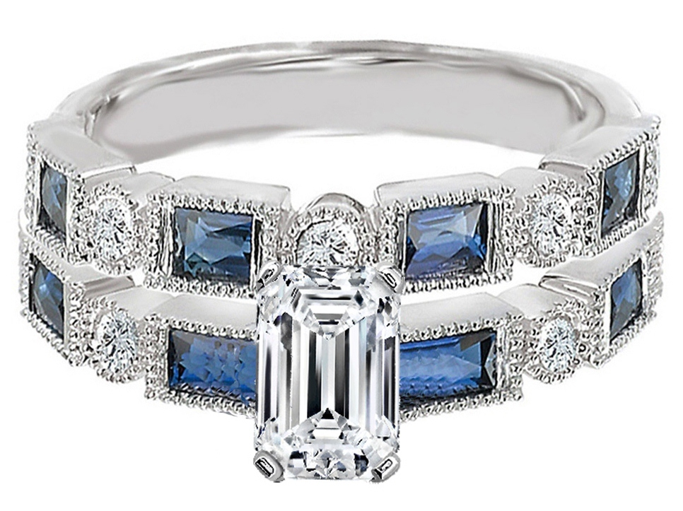 Emerald Cut Diamond Engagement Ring Blue Sapphire Accents & Matching Wedding Ring in 14K White Gold