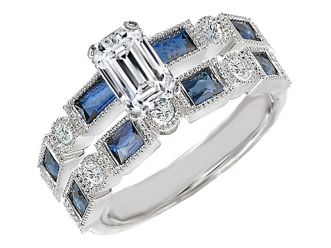 Engagement Ring Emerald Cut Diamond Engagement Ring Blue Sapphire Accents  & Matching Wedding Ring In 14k White Goldes1211ec