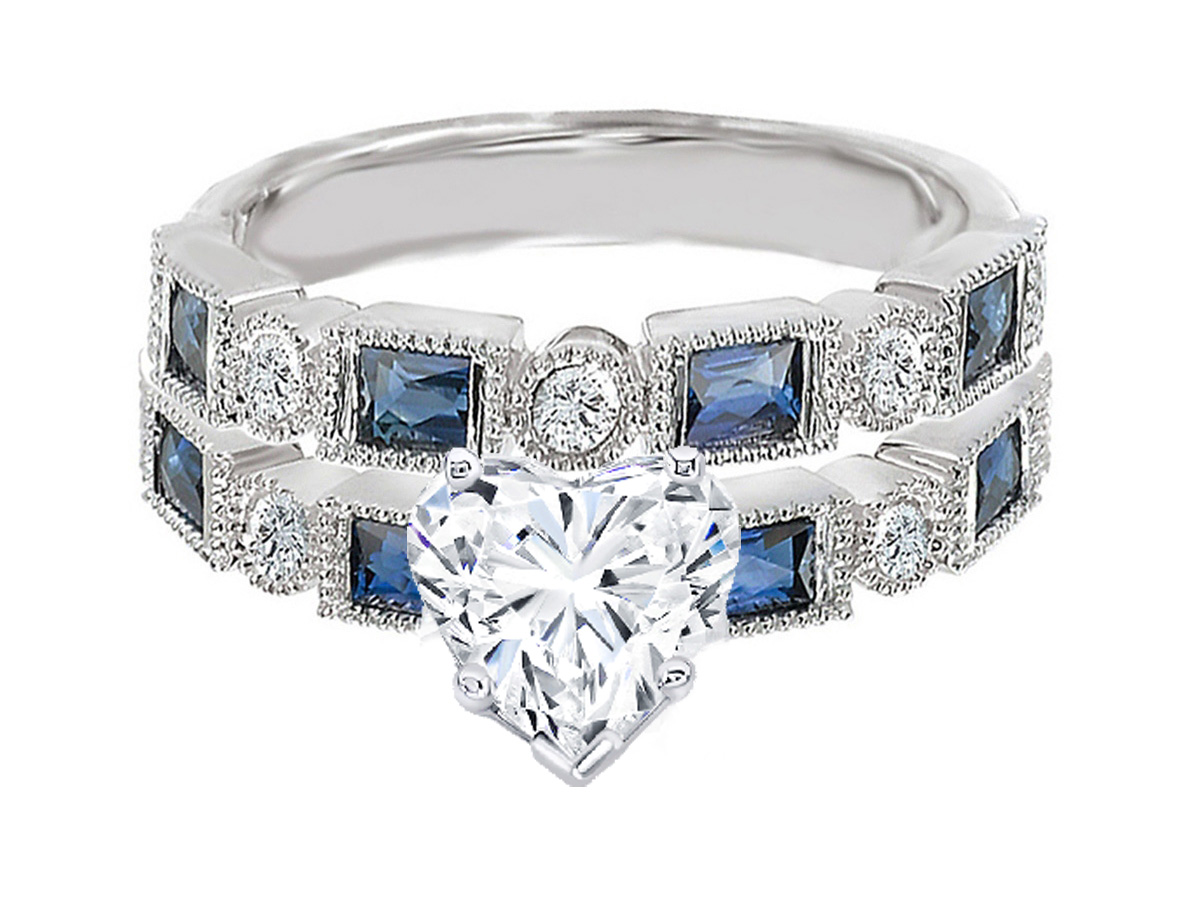 Heart Shape Diamond Engagement Ring Blue Sapphire Accents & Matching Wedding Ring in 14K White Gold