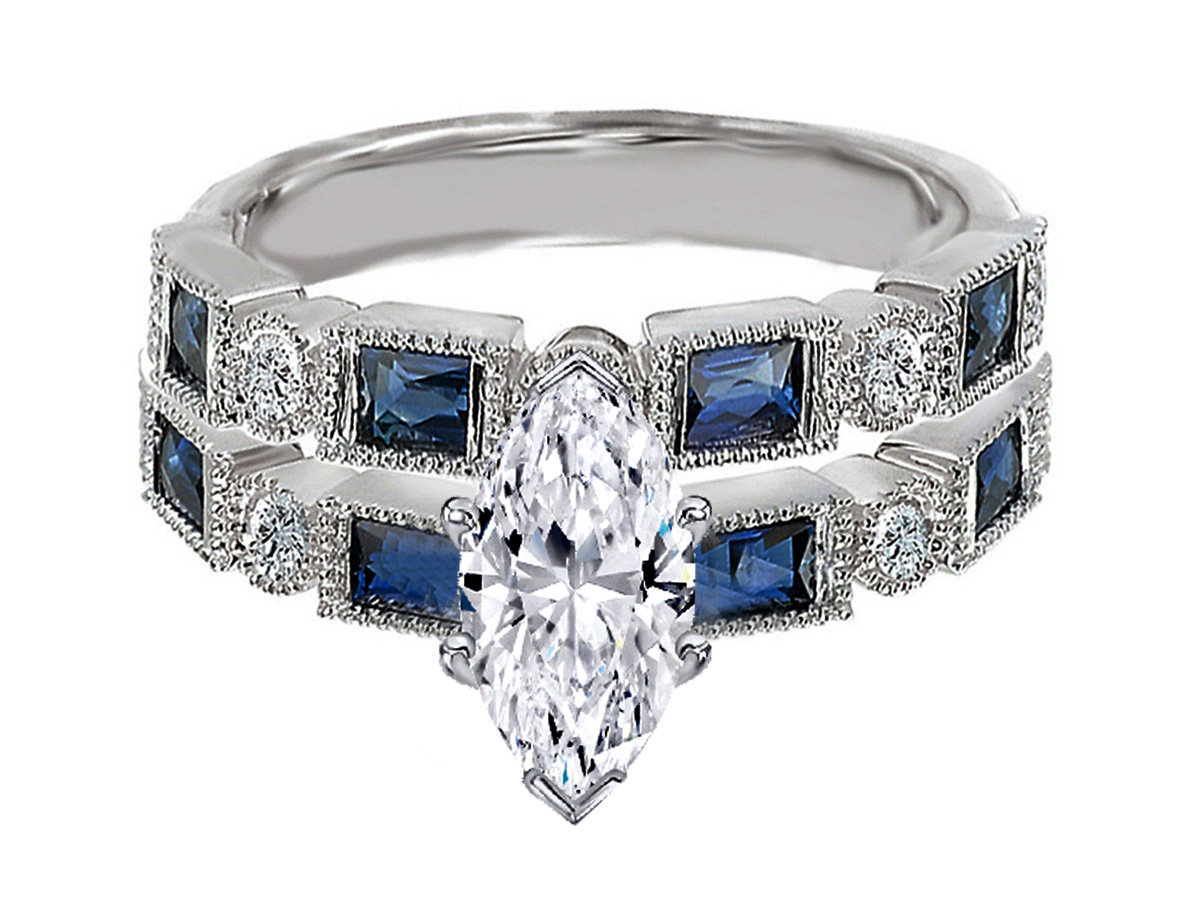 Marquise Cut Diamond Engagement Ring Blue Sapphire Accents & Matching Wedding Ring in 14K White Gold