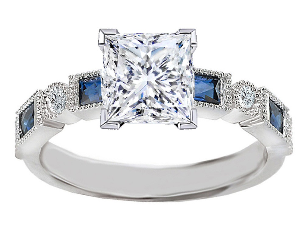Engagement Ring Princess Cut Diamond Engagement Ring Blue Sapphire