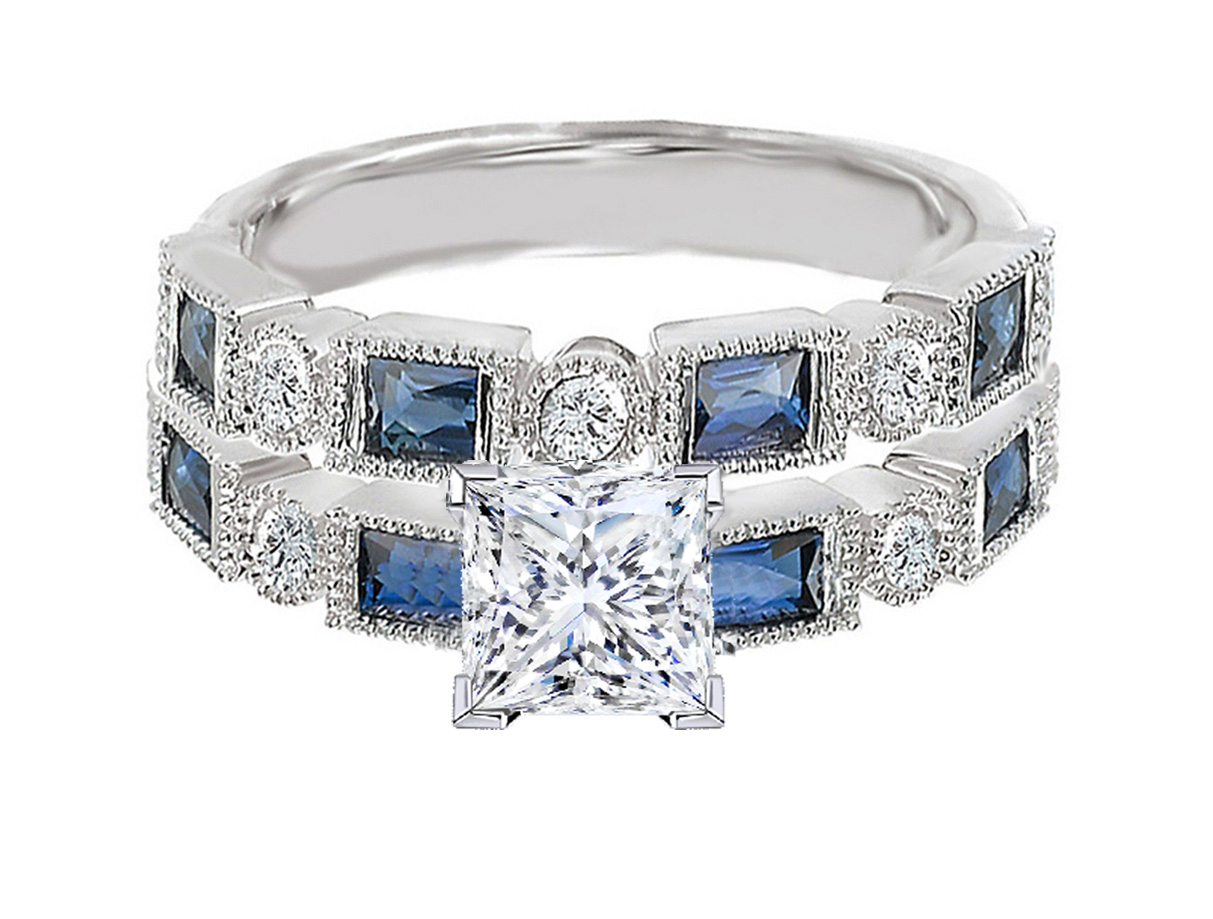 Princess Cut Diamond Engagement Ring Blue Sapphire Accents & Matching  Wedding Ring In 14k White Gold