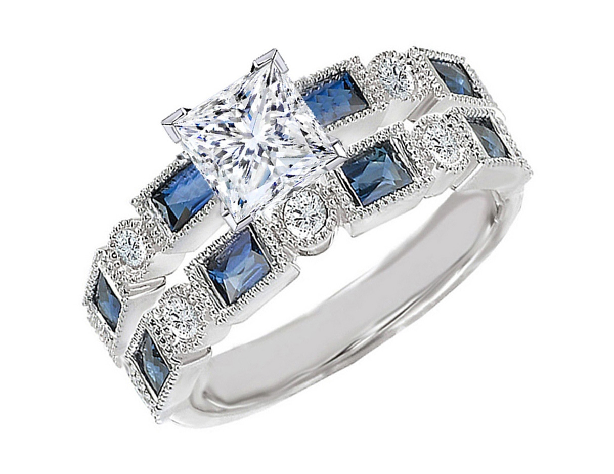 engagement ring princess cut diamond engagement ring blue. Black Bedroom Furniture Sets. Home Design Ideas