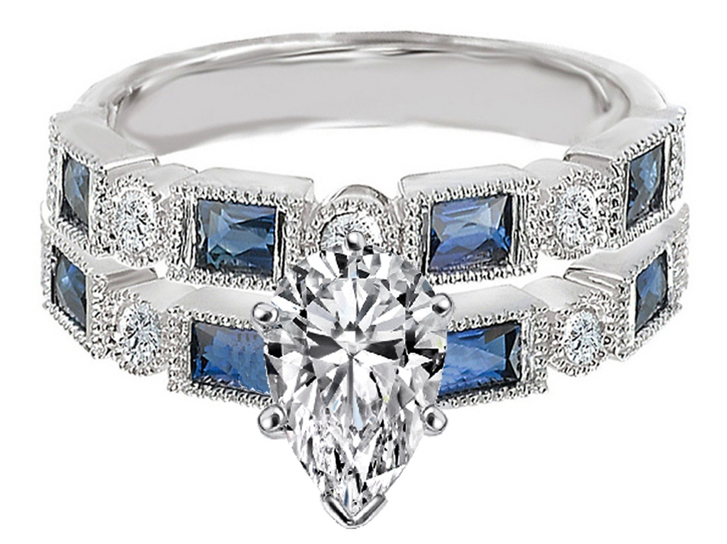 Pear Shape Diamond Engagement Ring Blue Sapphire Accents & Matching Wedding Ring in 14K White Gold