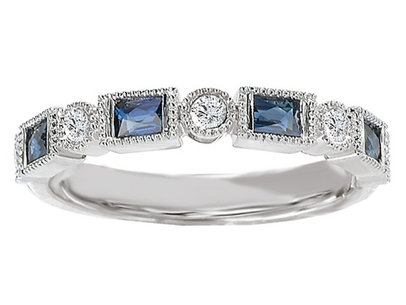 Asscher Cut Diamond Engagement Ring Blue Sapphire Accents & Matching Wedding Ring in White Gold