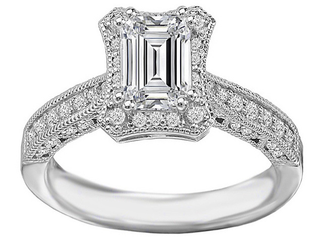 Emerald Cut Diamond Vintage Pave  Engagement Ring & Matching Wedding Ring in 14K White Gold