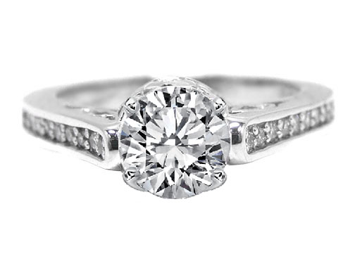 Antique Style Round Diamond Pave Set Engagement Ring in 14K White Gold with 0.28 tcw.