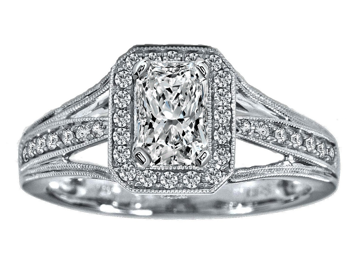 Radiant Diamond Halo Engagement Ring Trio Band 14K White Gold