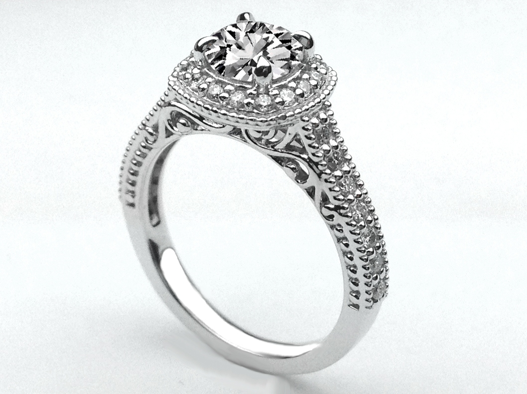 Engagement Ring -Filigree Gallery Diamond Halo Engagement Ring-ES1234