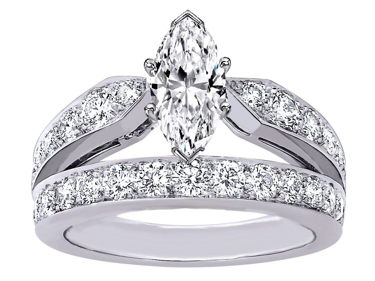Engagement Ring -Marquise Cut Diamond Double Band Engagement Ring-ES1235MQ