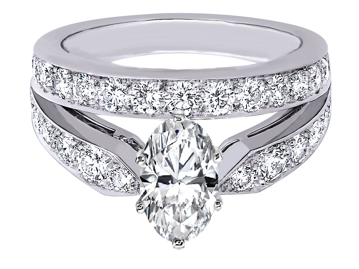 Oval Diamond Double Band Engagement Ring