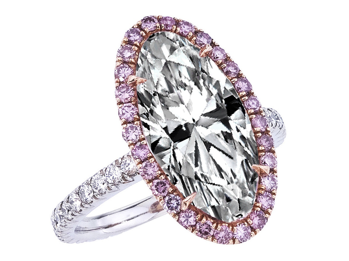 Engagement Ring Oval Diamond Pink Diamond Halo Engagement Ring in Platinum E