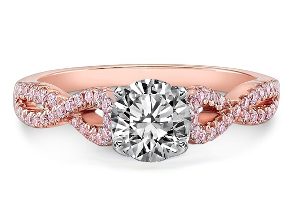 Diamond Engagement Ring Infinity Pink Diamonds in 14K Rose Gold