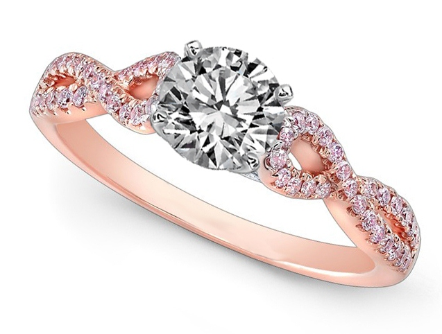 Engagement Ring Diamond Engagement Ring Infinity Pink Diamonds in