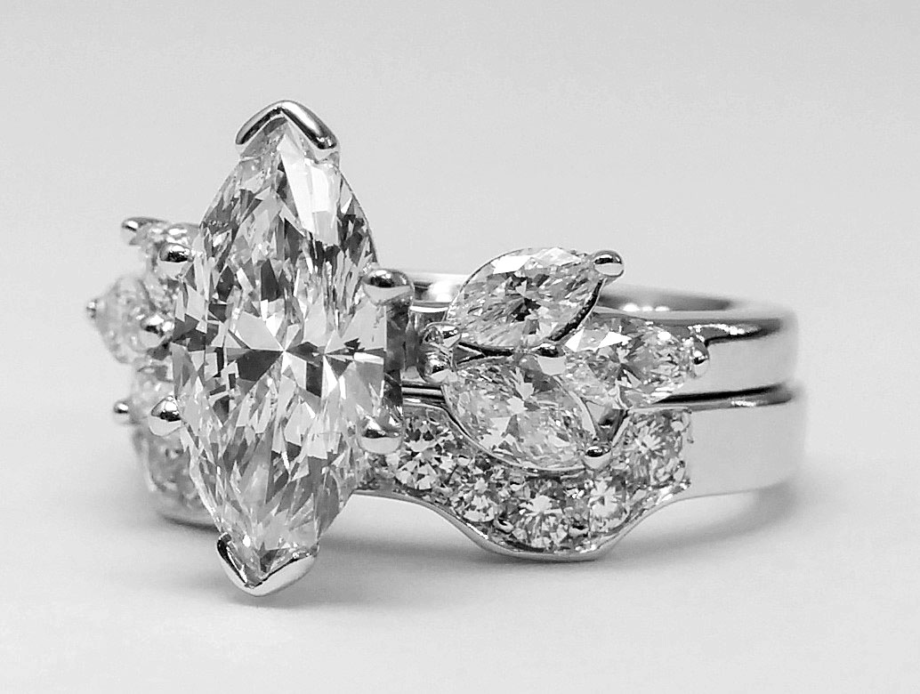Open Petals Marquise Diamond Bridal Set 0.91 tcw. In 14k White Gold