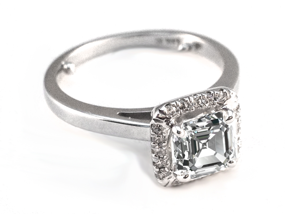 Asscher Diamond Halo Engagement Ring In 14K White Gold