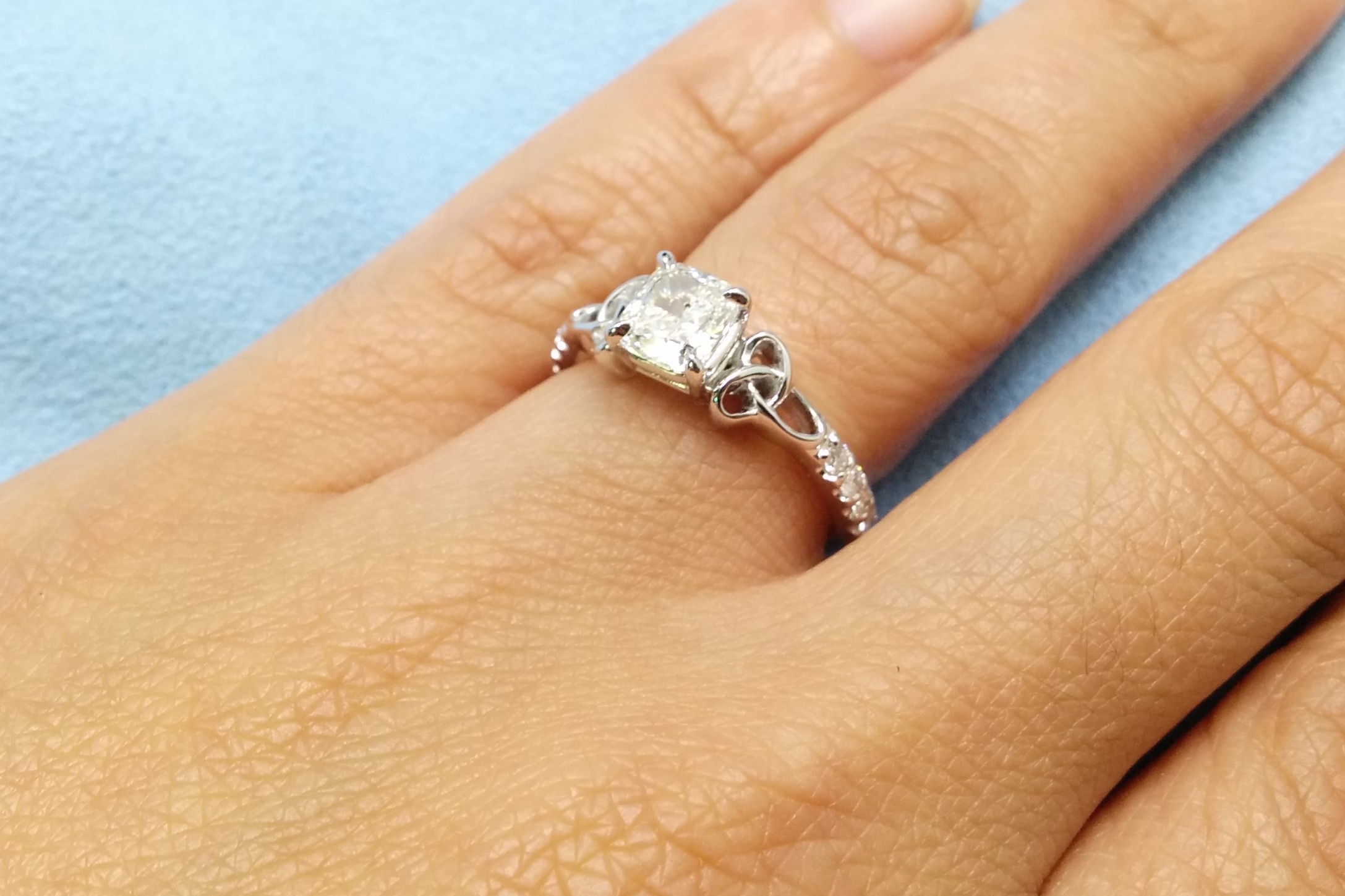 Engagement Ring Cushion Diamond Celtic Knot Engagement Ring in