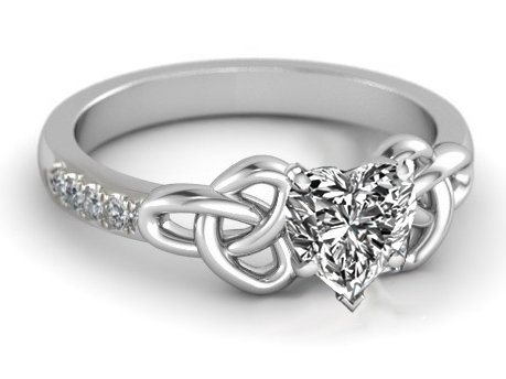 Heart Diamond Celtic Knot Engagement Ring in 14K White Gold Band