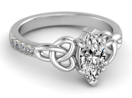 Marquise Diamond Celtic Knot Engagement Ring in 14K White Gold Band