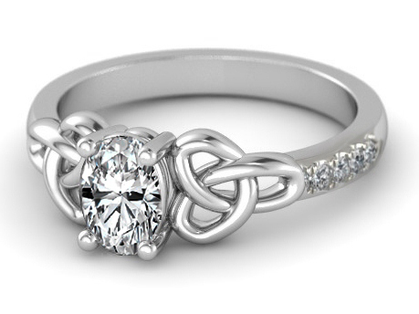 Oval Diamond Celtic Knot Engagement Ring in 14K White Gold Band