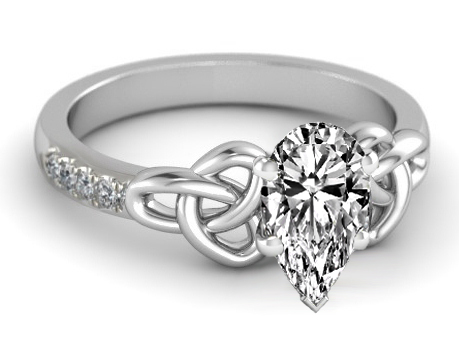 Pear Diamond Celtic Knot Engagement Ring in 14K White Gold Band