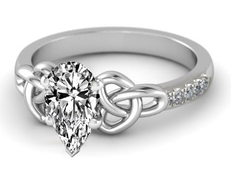Engagement Ring -Pear Diamond Celtic Knot Engagement Ring ...