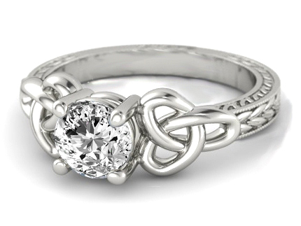 Wheat Engraved Celtic Engagement Ring in 14K White Gold