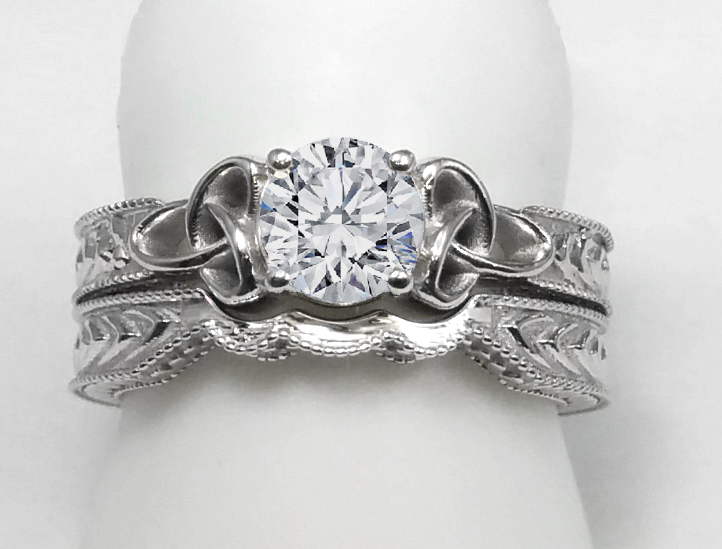 Wheat Engraved Celtic Bridal Set In 14k White Gold
