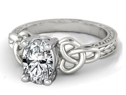 Wheat Engraved Celtic Oval Engagement Ring in 14K White Gold