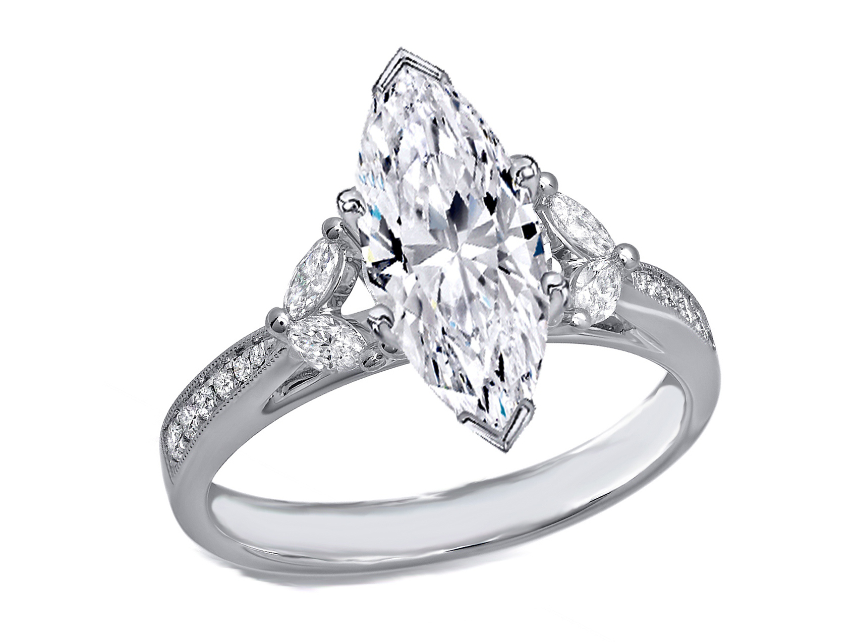 ring gia sidestones certified white si gold h rings halo cut i marquise engagement in diamond carat