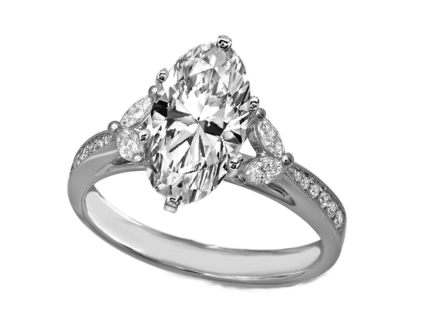 in ring two round gold rockher row cathedral white with double a rings diamond setting prong engagement