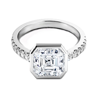 Vivo per lei Asscher Cut Diamond Engagement Ring